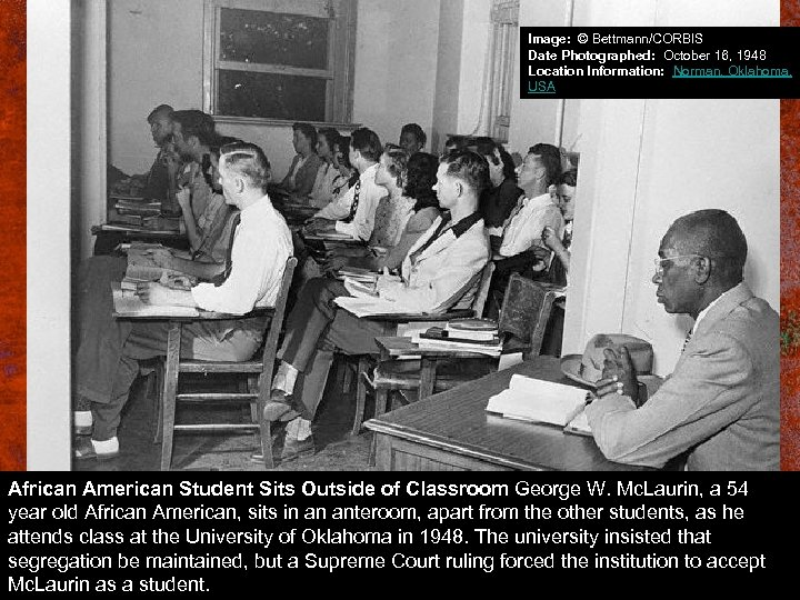 Image: © Bettmann/CORBIS Date Photographed: October 16, 1948 Location Information: Norman, Oklahoma, USA African