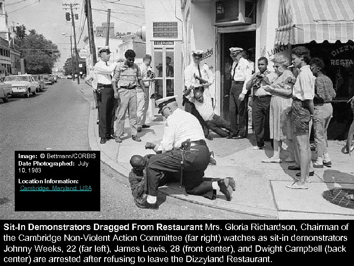 Image: © Bettmann/CORBIS Date Photographed: July 10, 1963 Location Information: Cambridge, Maryland, USA Sit-In