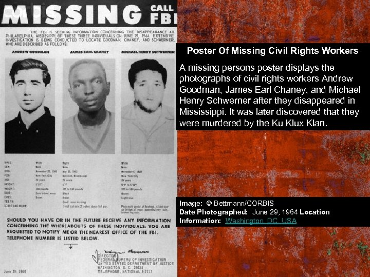 Poster Of Missing Civil Rights Workers A missing persons poster displays the photographs of