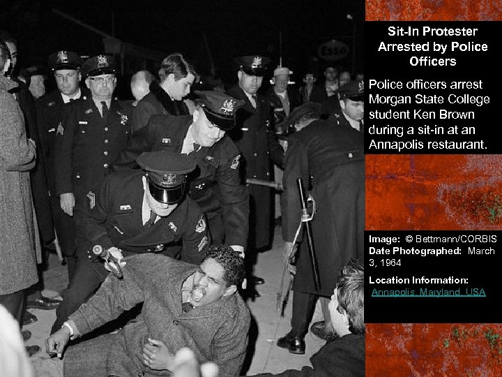 Sit-In Protester Arrested by Police Officers Police officers arrest Morgan State College student Ken