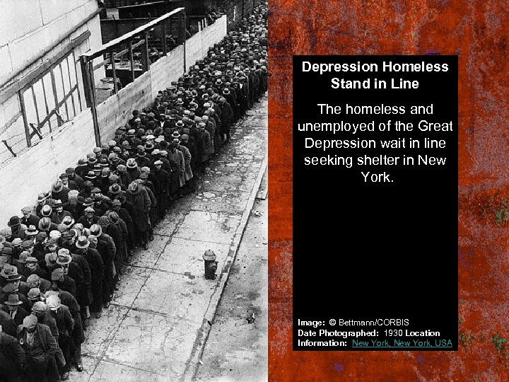 Depression Homeless Stand in Line The homeless and unemployed of the Great Depression wait