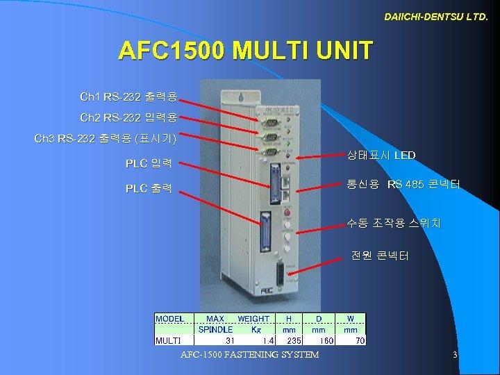 DAIICHI-DENTSU LTD. AFC 1500 MULTI UNIT Ch 1 RS-232 출력용 Ch 2 RS-232 입력용