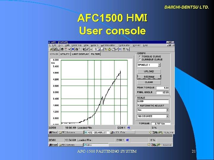 DAIICHI-DENTSU LTD. AFC 1500 HMI User console AFC-1500 FASTENING SYSTEM 21