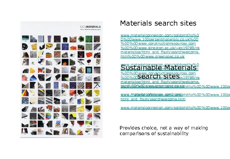 Materials search sites www. materialconnexion. com/goldsmiths%0 D%0 Dwww. 100 percentmaterials. co. uk%0 D %0
