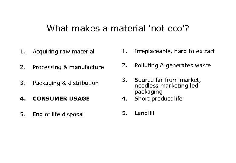 What makes a material 'not eco'? 1. Acquiring raw material 1. Irreplaceable, hard to