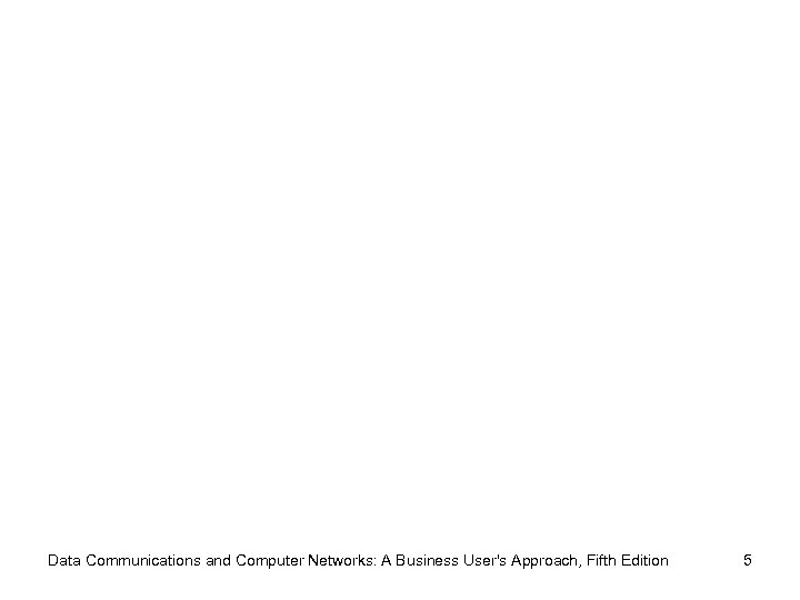 Data Communications and Computer Networks: A Business User's Approach, Fifth Edition 5
