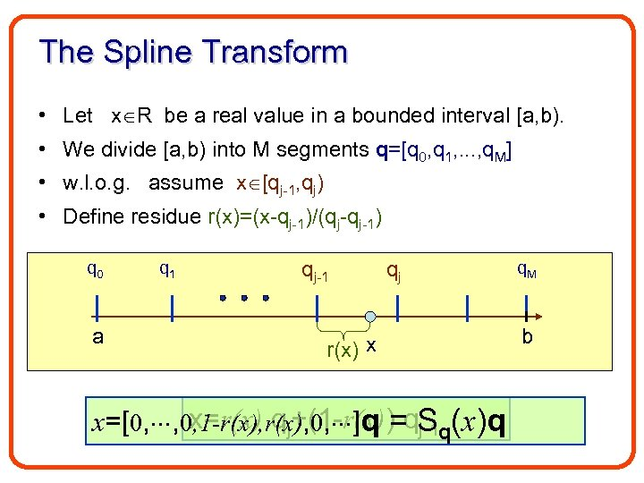 The Spline Transform • Let x R be a real value in a bounded