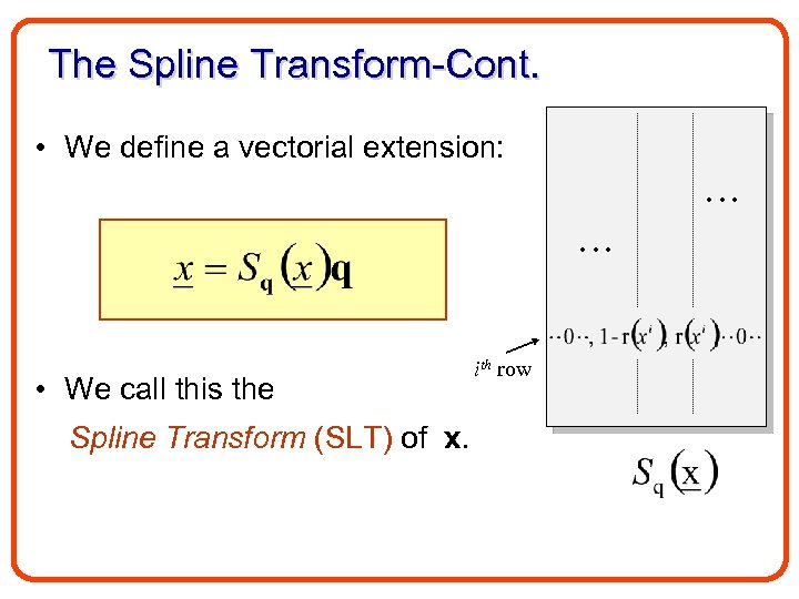 The Spline Transform-Cont. • We define a vectorial extension: • We call this the