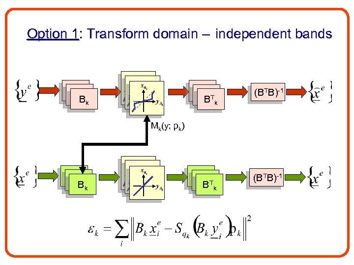 Option 1: Transform domain – independent bands B 1 Bk B 1 B 1