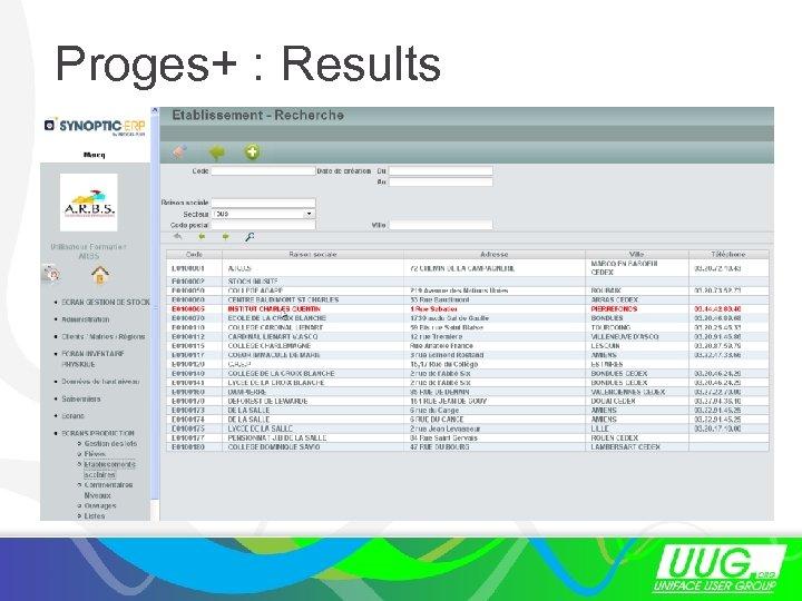 Proges+ : Results