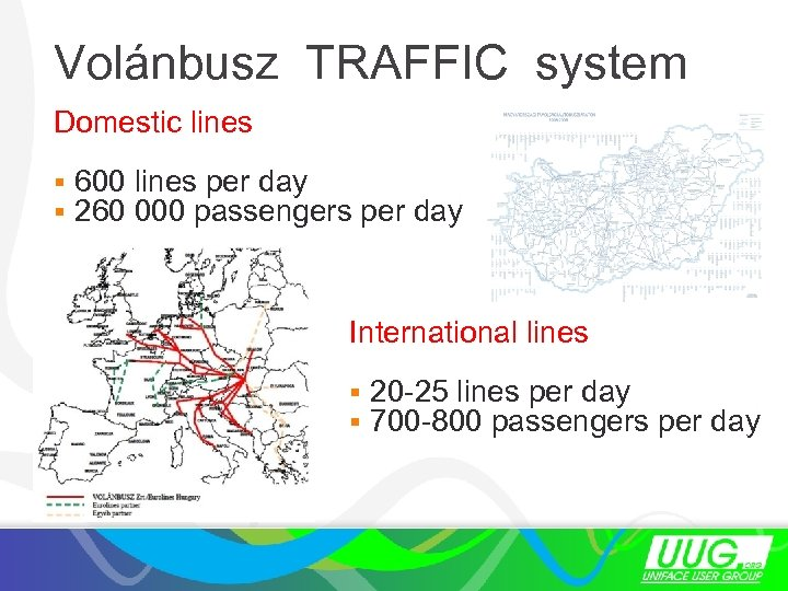 Volánbusz TRAFFIC system Domestic lines § 600 lines per day § 260 000 passengers