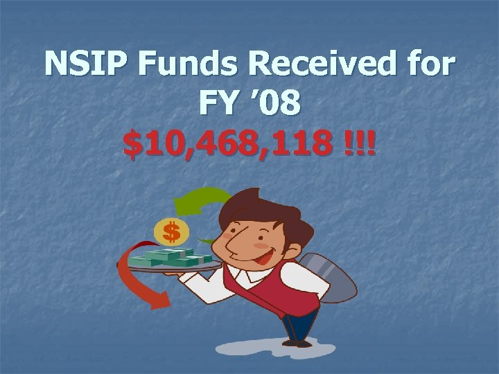 NSIP Funds Received for FY ' 08 $10, 468, 118 !!!
