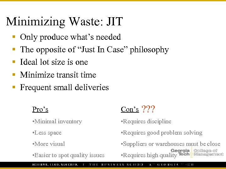 "Minimizing Waste: JIT § § § Only produce what's needed The opposite of ""Just"