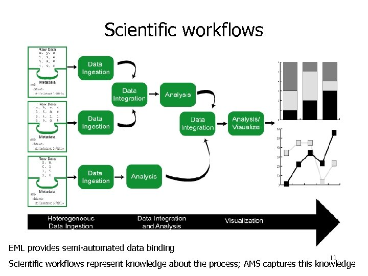 Scientific workflows EML provides semi-automated data binding 11 Scientific workflows represent knowledge about the