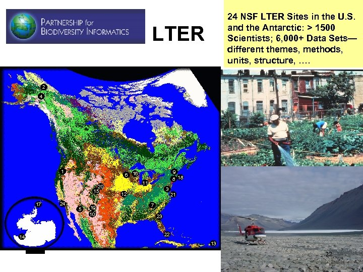 24 NSF LTER Sites in the U. S. and the Antarctic: > 1500 Scientists;