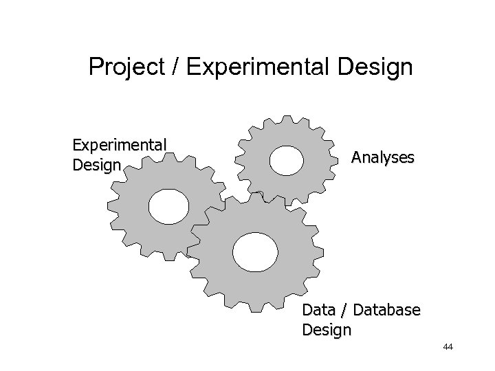 Project / Experimental Design Analyses Data / Database Design 44
