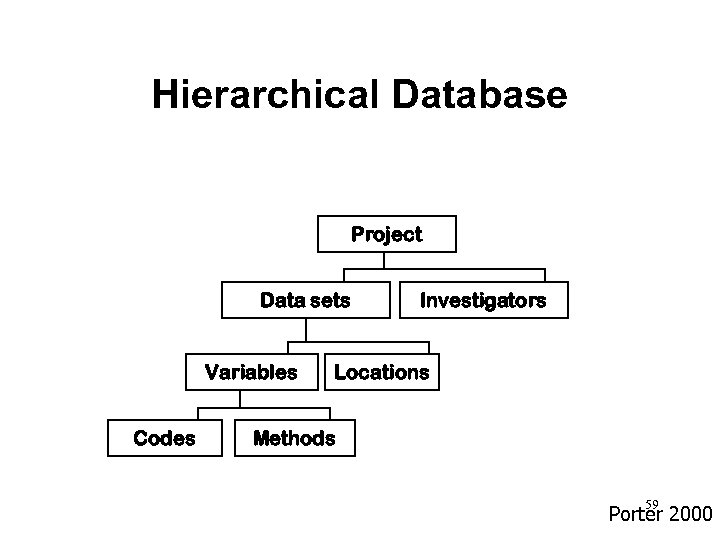 Hierarchical Database Project Data sets Variables Codes Investigators Locations Methods 59 Porter 2000