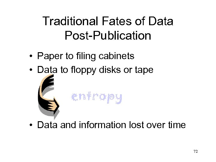 Traditional Fates of Data Post-Publication • Paper to filing cabinets • Data to floppy