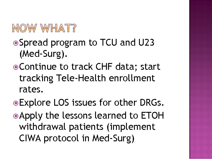 Spread program to TCU and U 23 (Med-Surg). Continue to track CHF data;