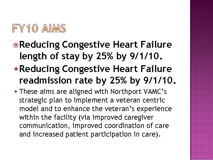 Reducing Congestive Heart Failure length of stay by 25% by 9/1/10. Reducing Congestive
