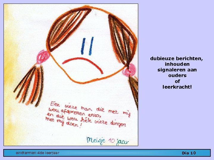 dubieuze berichten, inhouden signaleren aan ouders of leerkracht! eindtermen 4 de leerjaar Dia 10