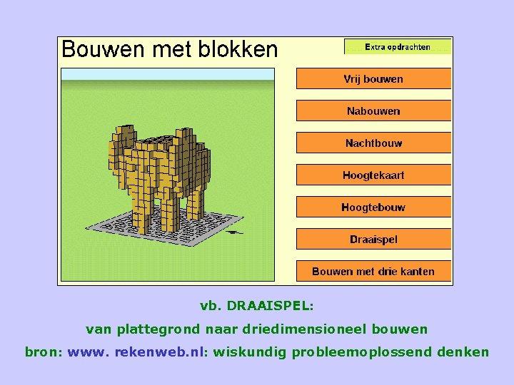 vb. DRAAISPEL: van plattegrond naar driedimensioneel bouwen bron: www. rekenweb. nl: wiskundig probleemoplossend denken