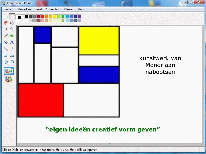 """kunstwerk van Mondriaan nabootsen """"eigen ideeën creatief vorm geven"""""""