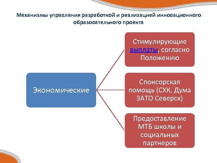 Механизмы управления разработкой и реализацией инновационного образовательного проекта Стимулирующие выплаты, согласно Положению Экономические Спонсорская