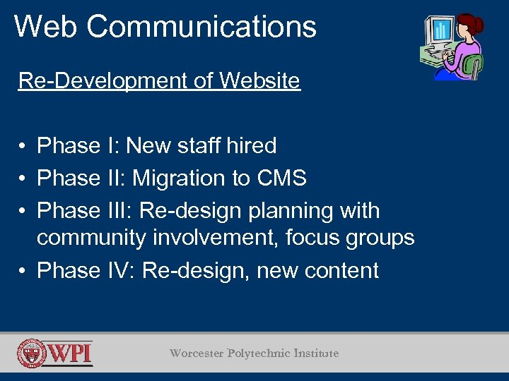 Web Communications Re-Development of Website • Phase I: New staff hired • Phase II: