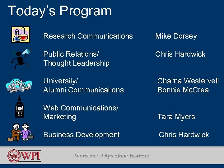 Today's Program Research Communications Mike Dorsey Public Relations/ Thought Leadership Chris Hardwick University/ Alumni