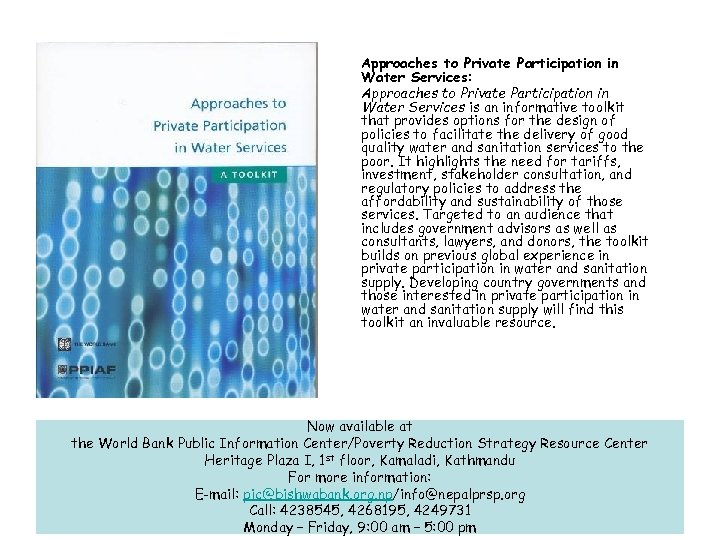 Approaches to Private Participation in Water Services: Approaches to Private Participation in Water Services