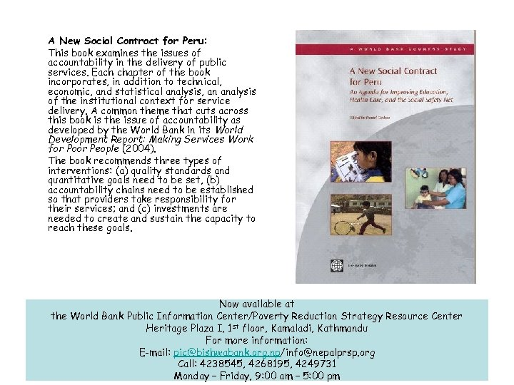 A New Social Contract for Peru: This book examines the issues of accountability in