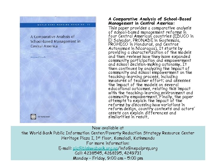 A Comparative Analysis of School-Based Management in Central America: This paper provides a comparative
