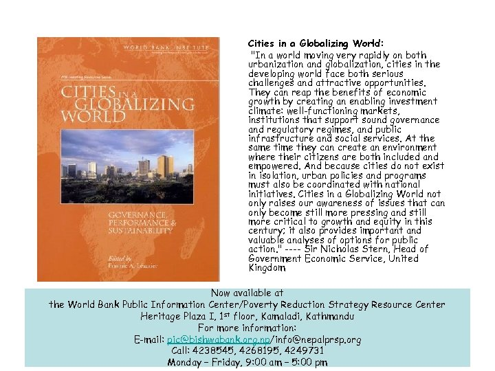 Cities in a Globalizing World: