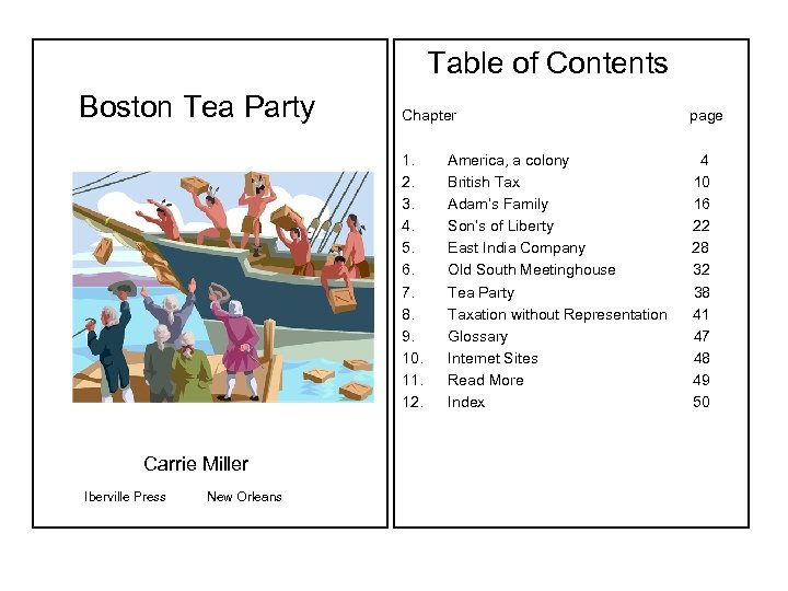 Boston Tea Party Carrie Miller Iberville Press New Orleans Table of Contents Chapter
