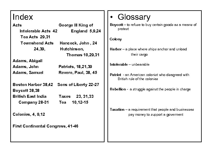 Index • Glossary Acts George III King of Intolerable Acts 42 England 5, 9,