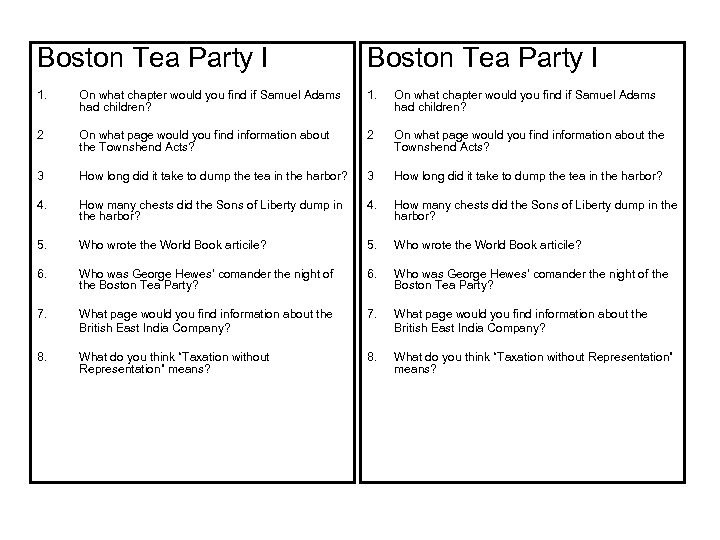 Boston Tea Party I 1. On what chapter would you find if Samuel Adams