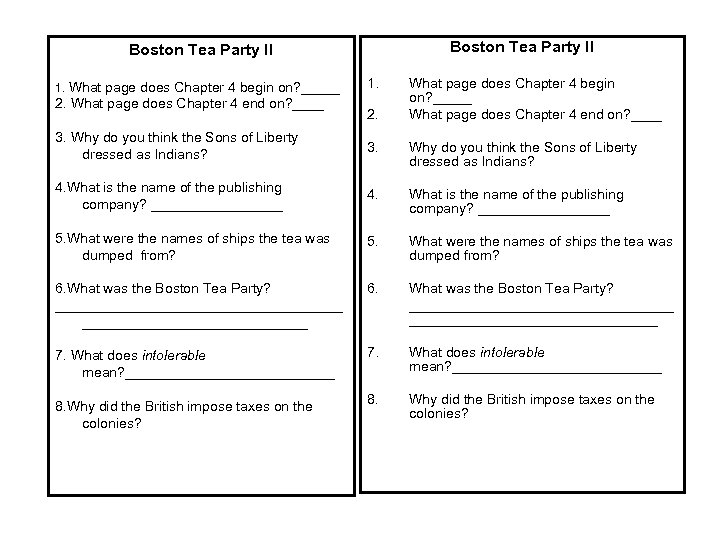 Boston Tea Party II 1. What page does Chapter 4 begin on? _____