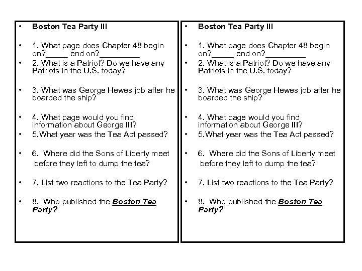 • Boston Tea Party III • 1. What page does Chapter 48 begin