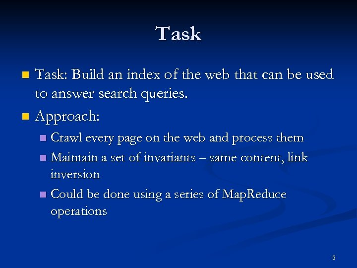 Task: Build an index of the web that can be used to answer search