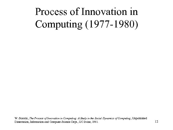 Process of Innovation in Computing (1977 -1980) W. Scacchi, The Process of Innovation in