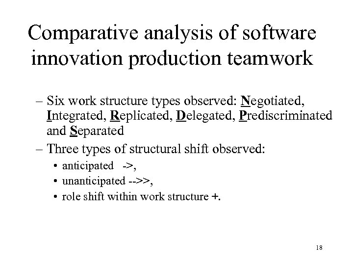 Comparative analysis of software innovation production teamwork – Six work structure types observed: Negotiated,
