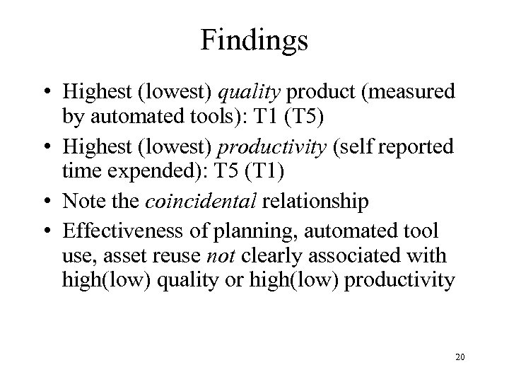 Findings • Highest (lowest) quality product (measured by automated tools): T 1 (T 5)