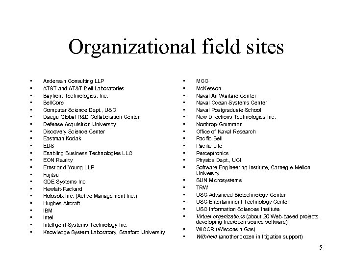 Organizational field sites • • • • • • Andersen Consulting LLP AT&T and