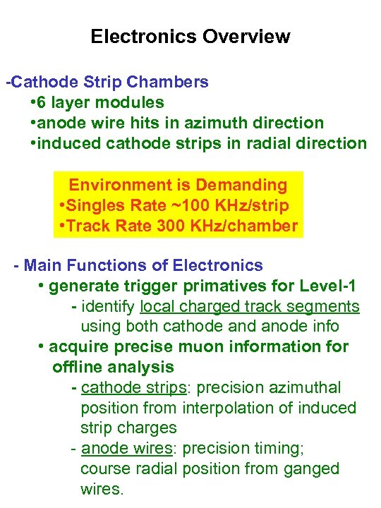 Electronics Overview -Cathode Strip Chambers • 6 layer modules • anode wire hits in
