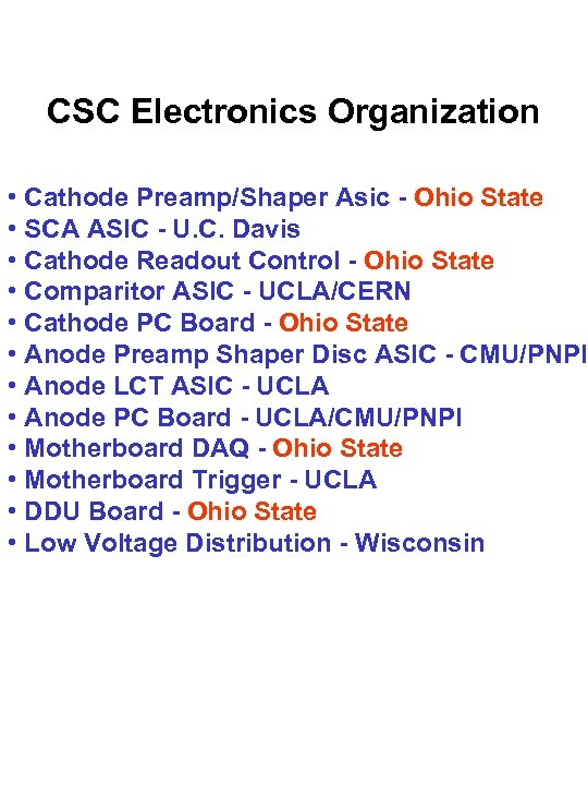 CSC Electronics Organization • Cathode Preamp/Shaper Asic - Ohio State • SCA ASIC -