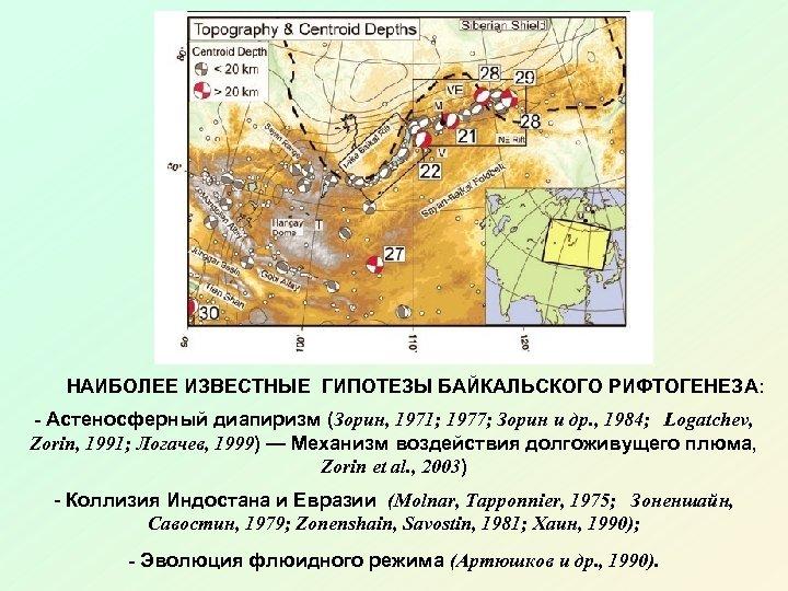 НАИБОЛЕЕ ИЗВЕСТНЫЕ ГИПОТЕЗЫ БАЙКАЛЬСКОГО РИФТОГЕНЕЗА: - Астеносферный диапиризм (Зорин, 1971; 1977; Зорин и др.