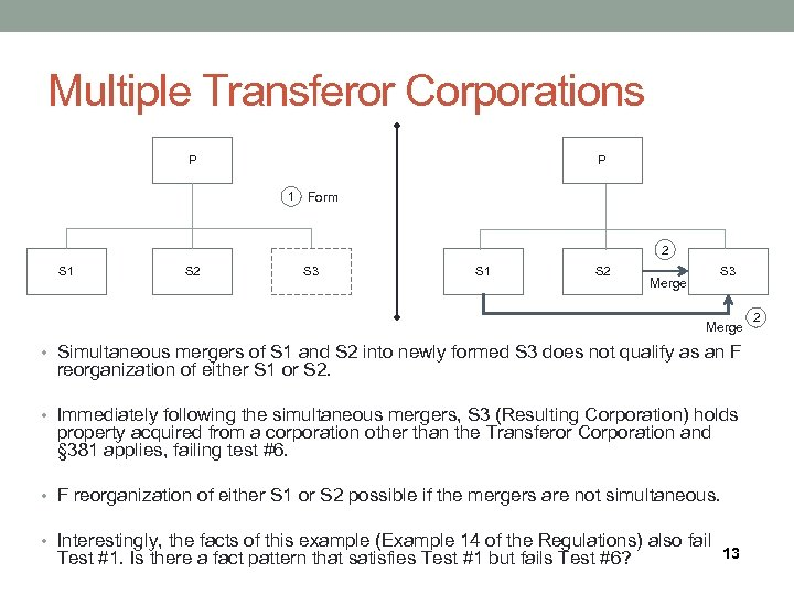 Multiple Transferor Corporations P P 1 Form 2 S 1 S 2 S 3