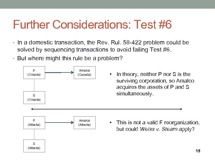 Further Considerations: Test #6 • In a domestic transaction, the Rev. Rul. 58 -422