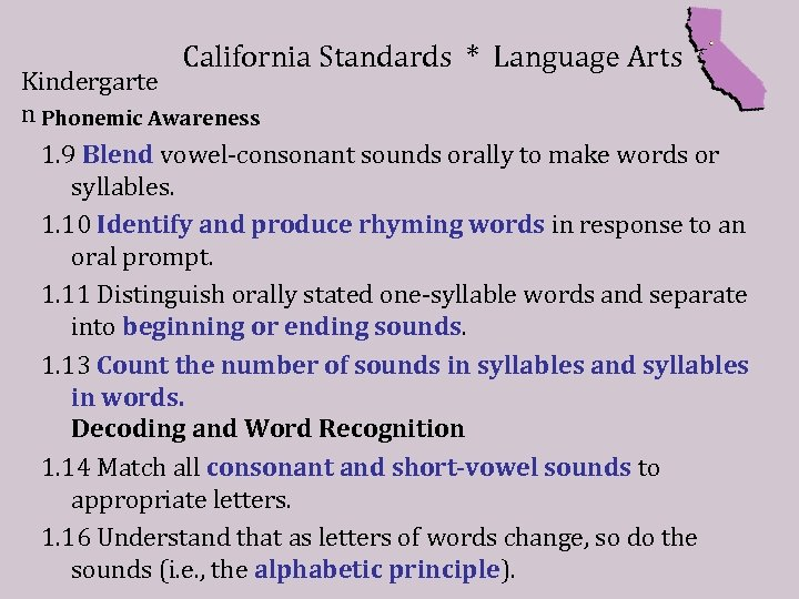 California Standards * Language Arts Kindergarte n Phonemic Awareness 1. 9 Blend vowel-consonant sounds
